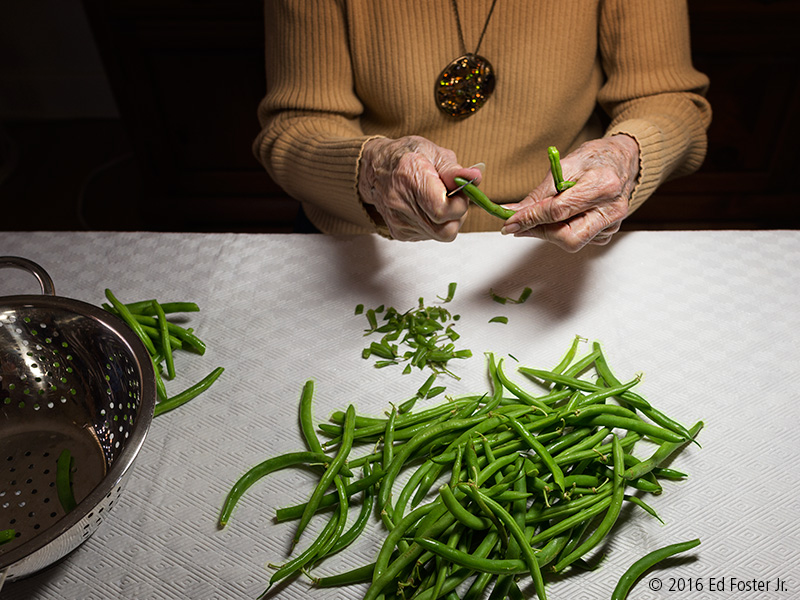 This photograph of my mother-in-law snapping green beans on her 88th birthday, provides for a vignette photograph that speaks to her enjoyment of cooking.